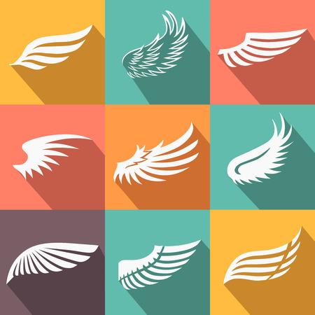alas de angel: Resumen alas de ángel de plumas o de aves conjunto de iconos de estilo plano larga sombra ilustración aislada