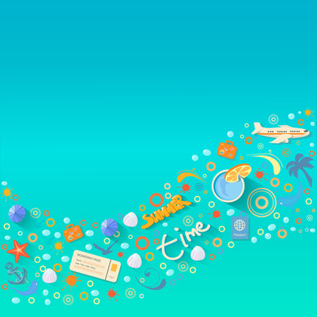 a place for the text: Summer vacations design,  illustration  graphic with a place for text Stock Photo