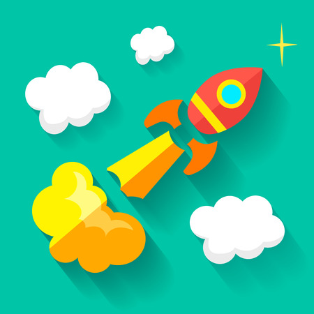 stabilizer: Flat rocket icon. Startup concept. Project development Stock Photo
