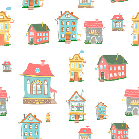 violet residential: Cute cartoon houses seamless pattern