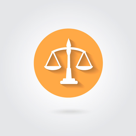 balance icon: Vector scales balance icon in flat style. White silhouette of Libra in orange circle Illustration