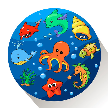 cartoon whale: Cute sea creatures set.  illustration of Marin life. Stock Photo