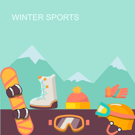 a place for the text: Winter  background. Mountains and snowboard,   with a place for text