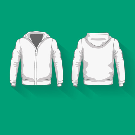 hoodie: Mens hoodie shirts template. Front and back views.  illustration.