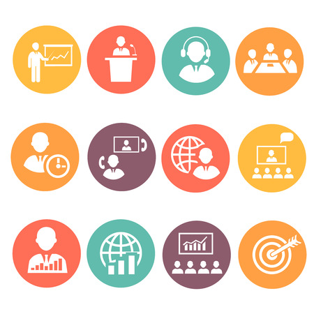 discussion meeting: Business people meeting online and  offline strategic concepts icons set isolated vector illustration
