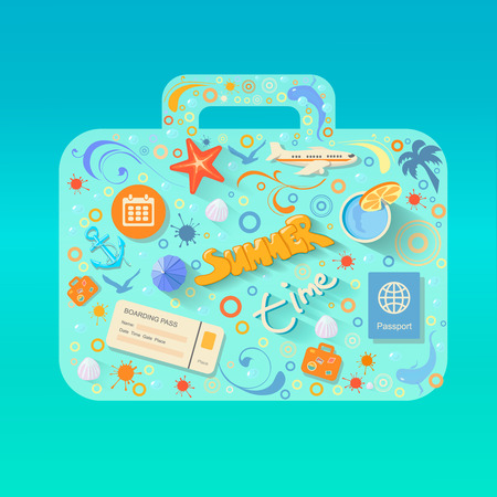 flying boat: Vector summer poster made from icons -  flat Illustration