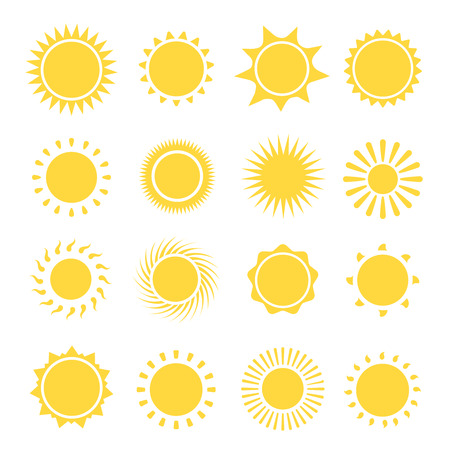 florid: Sun icons collection.  The sun sets straight, florid and twisted rays on white background. Vector illustration Vector illustration Illustration