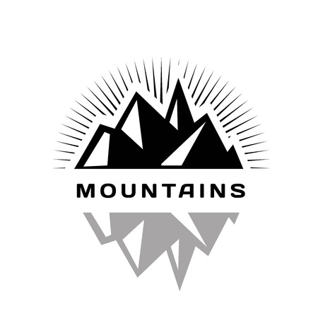 Mountains icon for a firm, company or corporation, travel agency. Place for text Ilustração