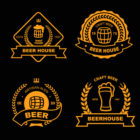 beer house: Set of vintage gold badge, icon templates and design elements for beer house, bar, pub, brewing company, brewery, tavern, restaurant on black