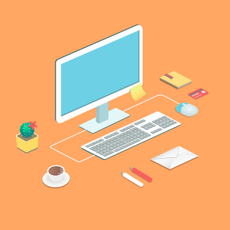 geeky: Workplace concept. Flat design. Vector illustration with a desktop computer mouse and keyboard flower  book stick envelope with paper and a cup of coffee vector illustration