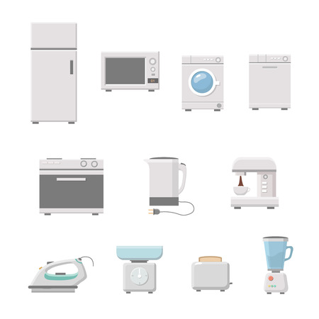 household appliance: Household appliance set vector. a washing machine. Microwave, coffee machine. fridge,  on white background