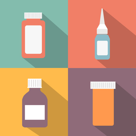 antiseptic: Flat style medical pharmaceutical bottles glasses containers scales icon set. Medicine pharmacy collection. set of illustrations in a modern style flat Illustration