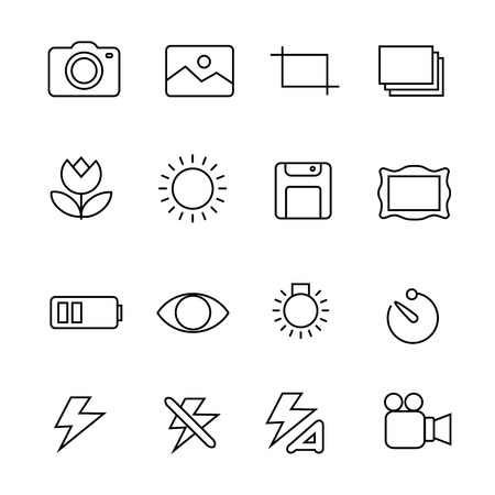Photography icons on white background vector set