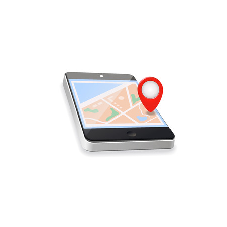 World Map. Mobile GPS Navigation. Mobile Phone and Mobile Technologies Concept. Vectores