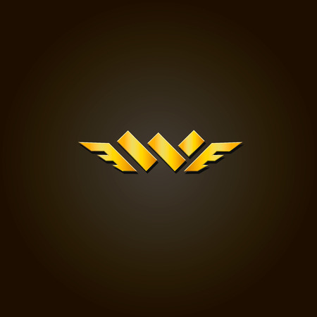 Letter W. Vector gold font. Template  for company icon. Illustration