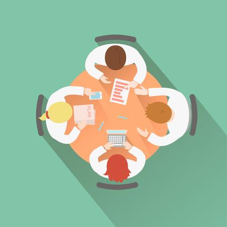 gruppe von menschen: Gesch�ftsteamwork-Konzept Ansicht von oben Gruppe, die eine Sitzung um einen runden Tisch und Brainstorming