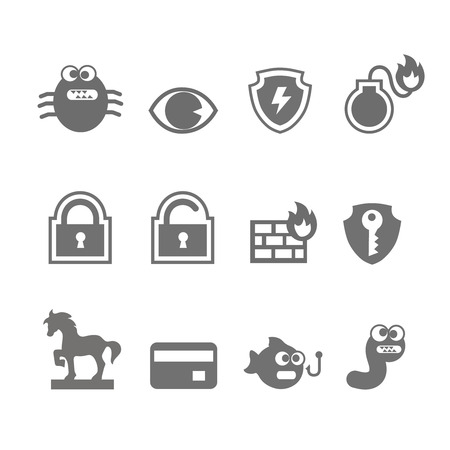 meltdown: Computer criminal icons vector set  in single color