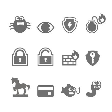 trojan horse: Computer criminal icons vector set  in single color