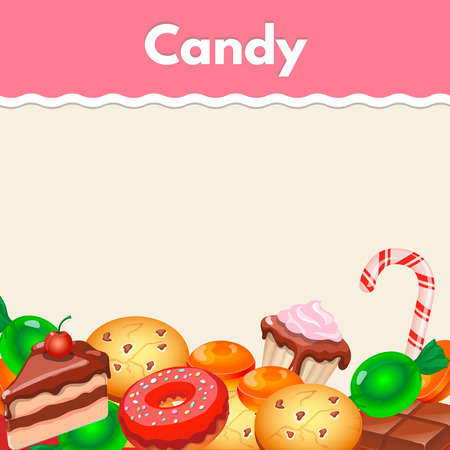 page layout design: Background with colorful sticker candy,  sweets and cakes. Stock Photo