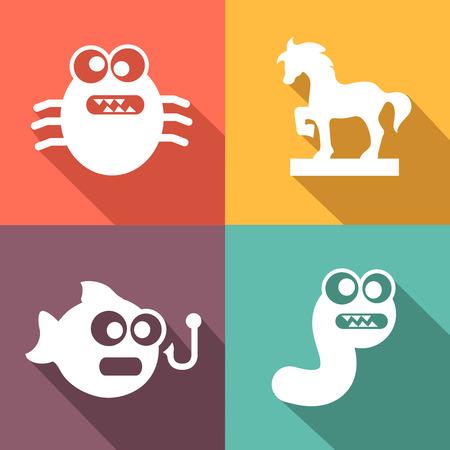 cavallo di troia: Minacce informatiche e virus icone bianche stile piatto