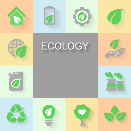 space rubbish: Ecology background with environment, green energy and pollution icons space for text.