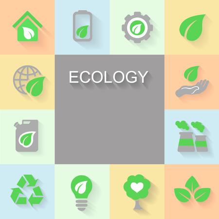 basura organica: Fondo de la ecología con el espacio de iconos de medio ambiente, energía verde y de contaminación para el texto. Vectores