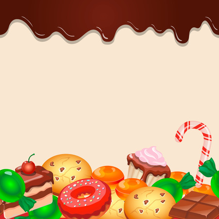 sweetmeats: Seamless pattern colorful candy sweets and chocolate vector Illustration