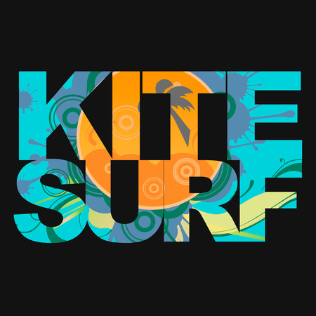 kite surf: Surfer free ride  typography, kite surf t-shirt graphics, vectors