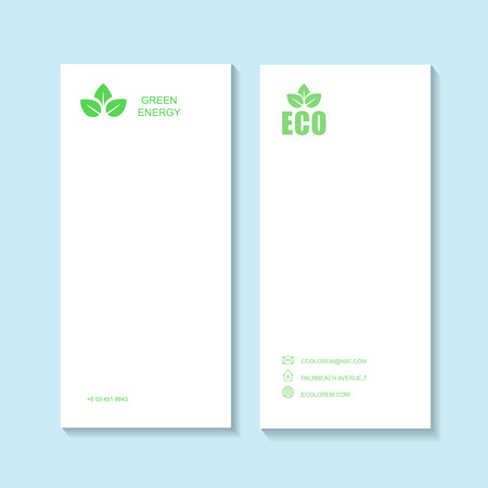 contact details: Ecological or eco energy company business card template with green leaves. Cutaway and contact details. Vector illustration Illustration