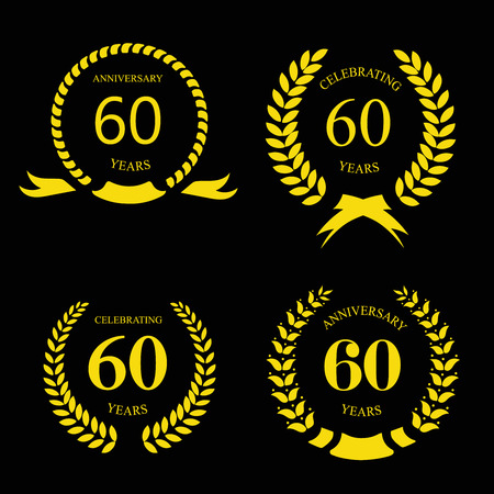 sixty: sixty  years anniversary signs  laurel gold wreath set