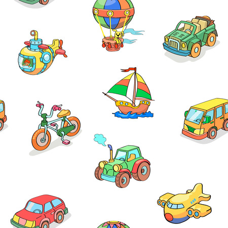 Cartoon collection  of Transportation seamless pattern vector Illustration