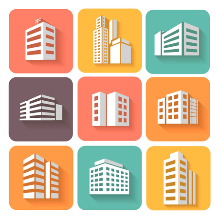 Set of dimensional buildings  colored icons in white with shadow depicting high-rise commercial buildings  office blocks and residential apartments Illustration