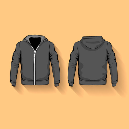 hoodie: Men s hoodie shirts template front and back views  flat Stock Photo