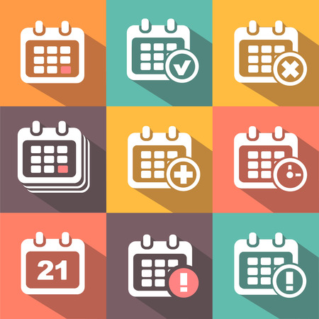 calender: Calendar Icons  set  in flat style Stock Photo