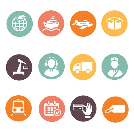Logistic and delivery round colored icons set photo