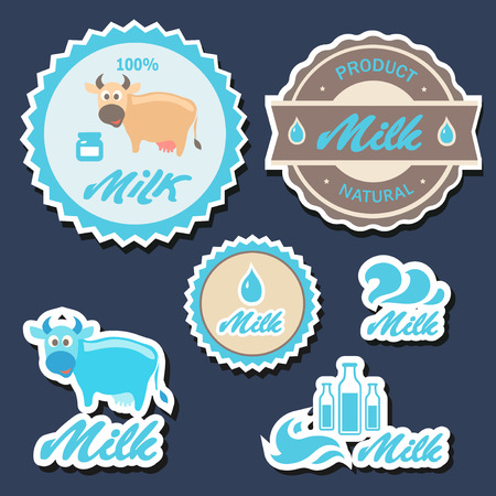 distilled: Set of  labels and icons for milk  in