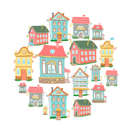 detached house: set of hand-drawn  Cute cartoon houses in different architectural styles  isolated on white Stock Photo