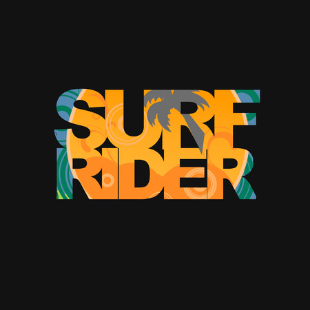 freeride: Surf rider  typography, surf t-shirt graphics, Stock Photo