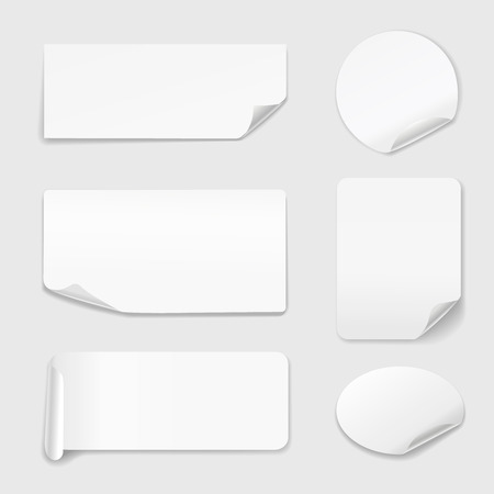 peeling corner: White Stickers - Set of white paper stickers isolated on white background.  Round, rectangular.  illustration