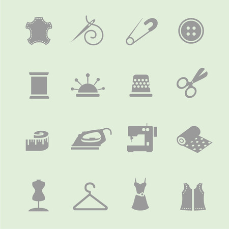 needle cushion: Vector sewing equipment and needlework icon  set