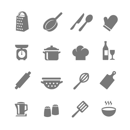 preparing food: Set of kitchen and cooking icons. Set of kitchen and cooking icons. Saucepan and pans, bottle and wine glass, fork and knife, Vector illustration