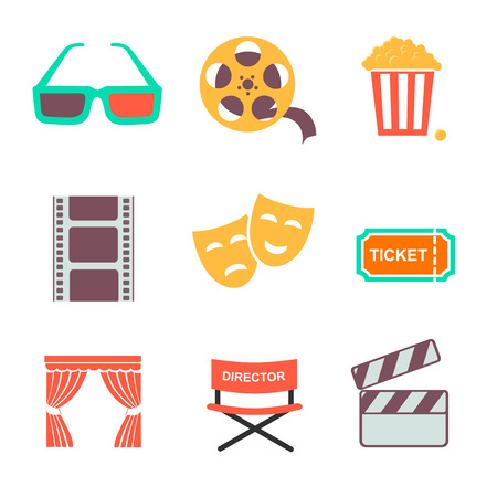 film industry: Movie and film icons set. Flat style design concept.  illustration.