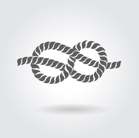 figure of eight: A figure of Rope eight knot  Design on grey background