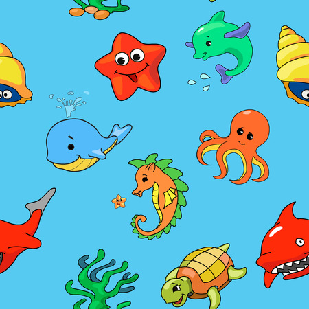sharks: seamless pattern of cartoon sea creatures starfish dolphin shark