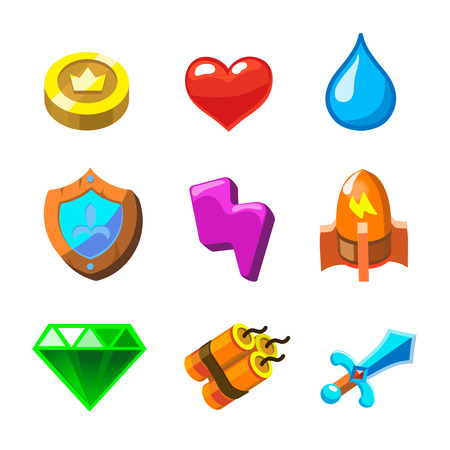 sword and heart: Cartoon icons for game user interface,   set