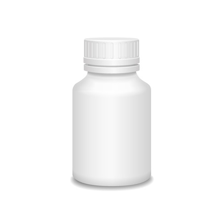placebo: Blank medicine bottle  illustration. Package of drugs isolated