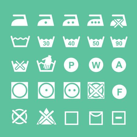 dry cleaned: Insieme dei simboli istruzione simboli di lavaggio lavaggio, candeggio e istruzione stireria, icona secco