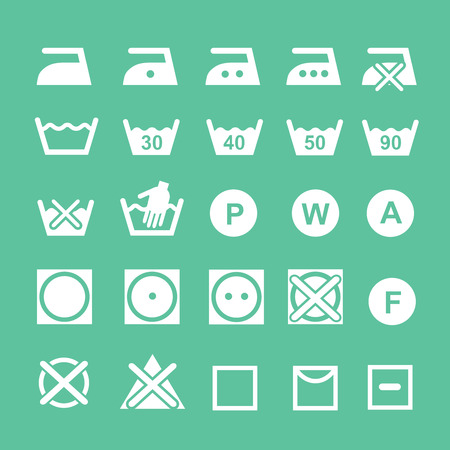 dry cleaned: Set of washing symbols Washing instruction symbols, bleaching and Ironing instruction, Dry clean icon