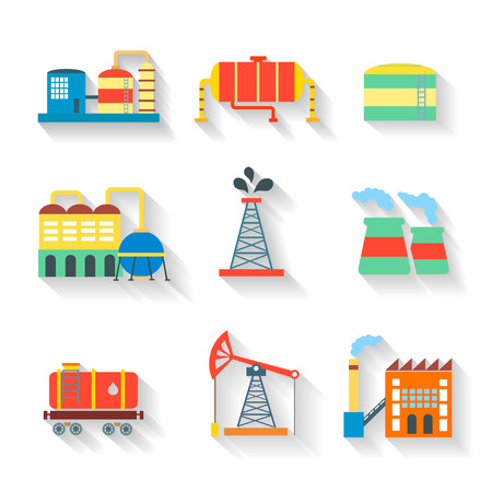 pollutants: Set of colourful  industrial factory buildings and refineries on white backgrounds with long shadows and chimneys emitting smoke pollution