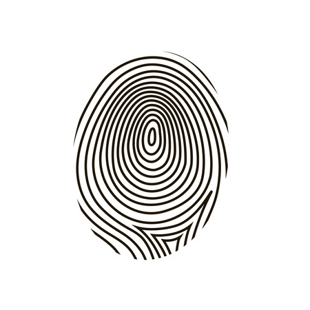 dactylogram: black drawing  fingerprint on white background Stock Photo
